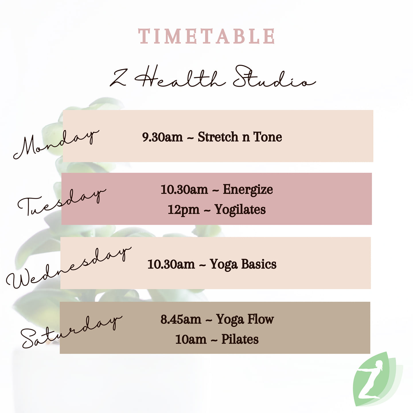 Timetable book with several time slots available